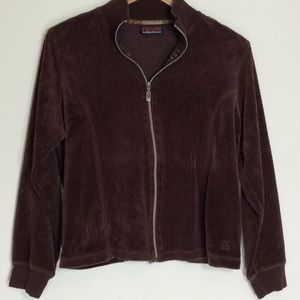 Brown Velvety Zippered Sweatshirt